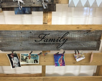 Reclaimed Wood Hanging Photo Display, Family