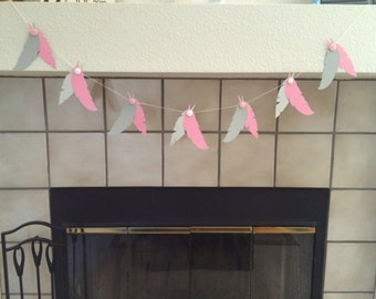 Paper Feather & Button  Garland, Pink and Grey