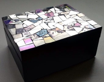 Mosaic CD Repurposed Wooden Keepsake Box Black