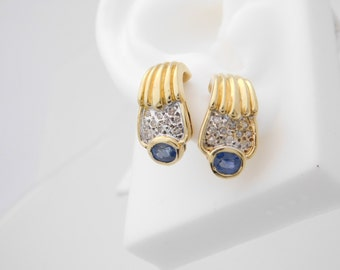 Ladies Blue Sapphire & Diamond Earrings 14K Yellow Gold
