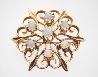 14K Yellow Gold Opal Vintage Pin/Brooch3D