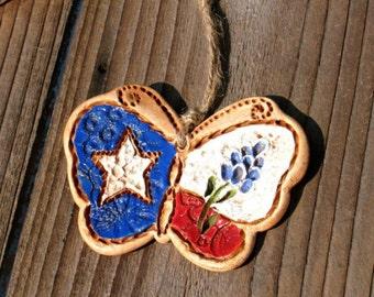 Texas Bluebonnet Butterfly / Texas Bluebonnet Butterfly Ornament / Texas Gift / Texas Ranch Decor / Texas Wedding Favor / Art