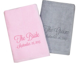 The Bride & The Groom Monogrammed Beach Towels for the honeymoon, personalized towels, embroidered Bride and Groom Beach Towel Set, wedding