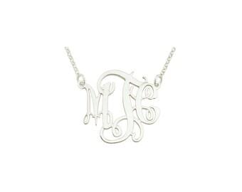 "mono111w - White Rhodium Plated 1.25"" Sterling Silver Elegant Monogram Necklace"