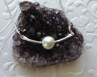 Festoon With Pearl Necklace ~ Hammered Sterling Silver