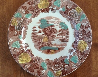 "Nasco MOUNTAIN WOOD-LAND 10"" Dinner Plate Brown Transferware - Distressed"