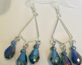 Silver and blue chandelier earrings