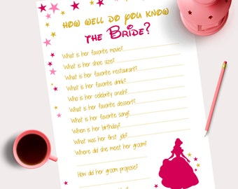 Disney Themed Bridal Shower Pink Gold How well do you know the bride Hen Party Bachelorette Party Game Bridal Instant download printable