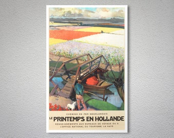 Le Printemps en Hollande Vintage  Travel Poster -  Poster Print, Sticker or Canvas Print