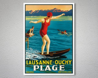 Lausanne  Ouchy Plage Travel Poster  -  Poster Print, Sticker or Canvas Print