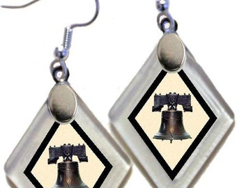 "Earrings & Donation ""Liberty Bell"" ~Lightening landfills one tiny glass diamond at a time!"