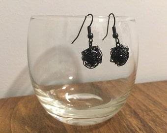 Black Wire Ball Earrings