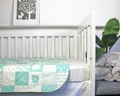 Baby bedding, Baby cot quilt/ blanket Mint elephants, Mint cot quilt, Modern baby quilt, Modern mint baby bedding