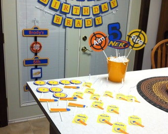 Nerf Happy Birthday Party Package, Nerf party, Nerf birthday, Nerf decorations, Nerf banner, nerf cupcake toppers, nerf favor tags