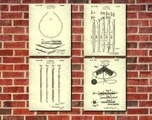 Knitting Needles Patent Prints Set 4 Knitting Wall Art Knitting Decor Sewing Room Decor Knitter Gift