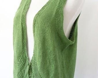 Green knit vest, cotton sleeveless sweater, summer knitwear