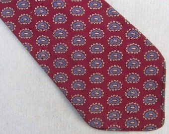40s Paisley Necktie Vintage Wool Red Blue