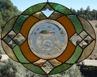 "stained glass window panel""MIMBRES LIZARD""Mimbres collection, beveled glass,sandblasting,stained glass sun catcher,etched glass,lizard"