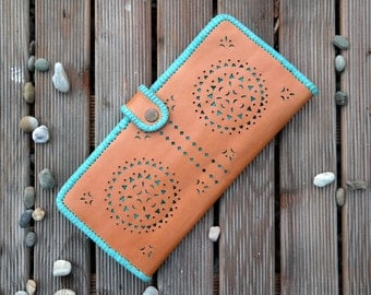 Wallet, leather, clutch wallet, bohemian, leather pouch, women, pattern, light brown, turquoise, boho,boho chic,hippie chic, ethnic,handmade