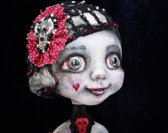Gothic doll in love - Whimsical doll with sculls - Art interior big eyed doll - Collectible poseable doll as gift