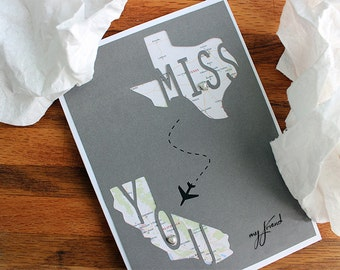 New Designs! Fully Custom Cut Paper Miss You Long Distance State to State Or Country to Country Greeting Card.