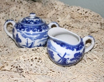 Nippon Cobalt Blue and White Creamer and Sugar Bowl w Lid