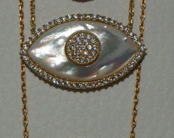 Mother of pearl evil eye sterling silver necklaces