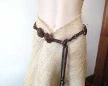 70s Macrame cord tie belt, boho belt, coconut shell belt,  hippie, woven belt, plaited belt, beaded belt, L large, 1115/693