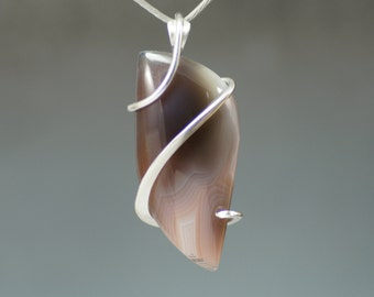 Botswana Agate Freeform Cold Forged Sterling Silver Pendant