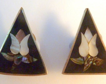 Vintage Shell Inlay Triangular Shaped Clip On Earrings.