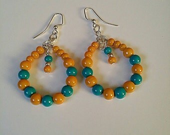 Turquoise/ Gold Teardrop Hoop Earrings