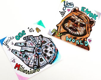 Uniquely Hand-Drawn Super Cute Funny Star Wars Valentines Day Cards with Ewok and Millennium Flacon