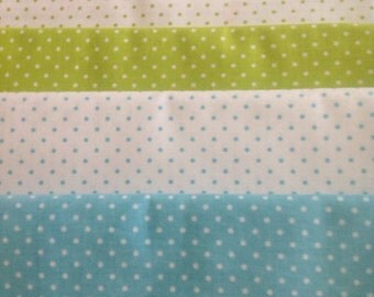 Riley Blake Swiss Dots. Mini Dots in Turquoise, Green and White,  Bundle