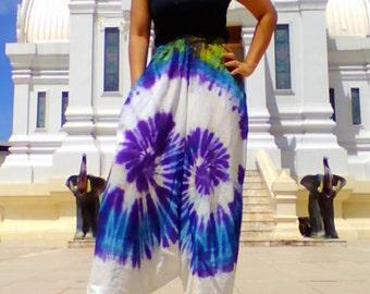 Ladies Handmade Tie Dye Harem Pants. Baggy Pants. With Pockets Ivory Blue