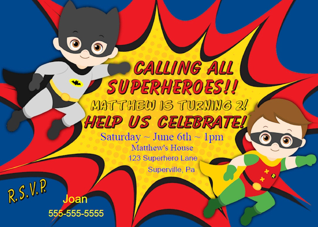 personalized superhero birthday invitations - Roberto.mattni.co