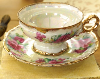 Vintage Norcrest Japan Pink Roses Tea Cup and Saucer, Fine China, Gold Trim, Pink Flowers, Green Leaves, Iridescent, Footed Cup