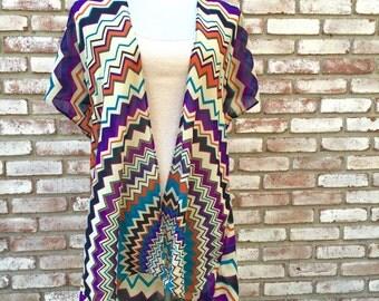 Handmade Kimono, Chevron Print, Thanksgiving, Beach Cover up, Resortwear, Gift Ideas, Women's Cardigan, Kimono Jacket, Boho Kimono, Retro,