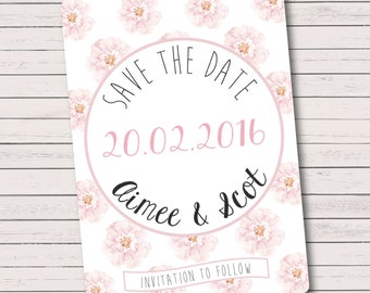 Pretty Pink Floral Save The Dates  - A6 size, supplied with kraft envelopes