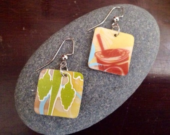 Summertime Earrings/Upcycled Starbucks Gift Card Earrings/Summer Fun Earrings/Upcycled Reclaimed Earrings