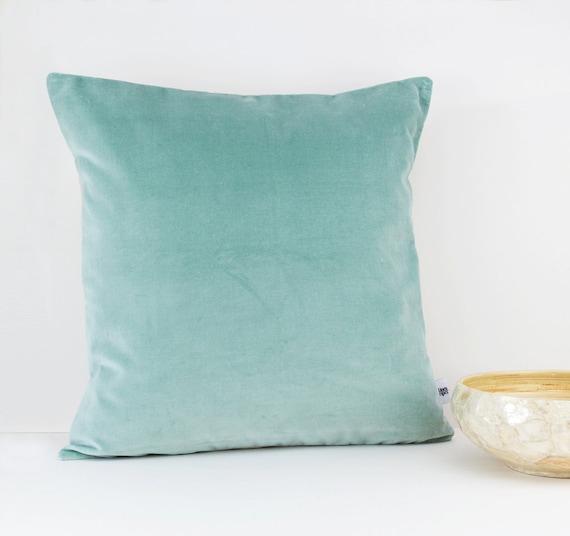 Mint velvet throw pillow Decorative velvet by LinenandStripes