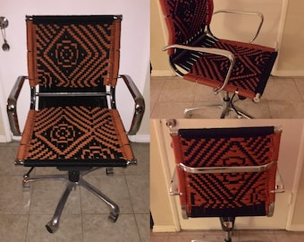 Up-cycled macrame office chair -rust OOAK