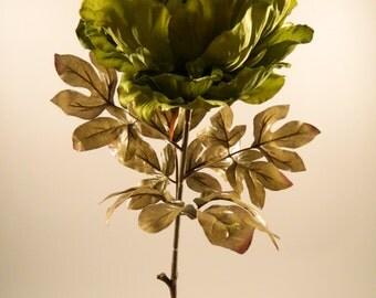 "Silk Peony Spray in Green - 36"" Tall"