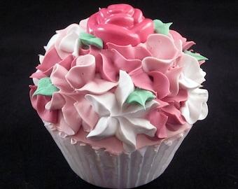 PinkVictorian Rose Fake Cupcake