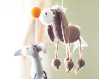 Needle Felted Baby Mobile, Donkey Baby mobile, Western Baby Crib Mobile, Nursery Decor, Baby Shower Gift
