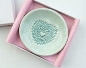 Ring Dish - Trinket Dish - Jewelry Dish - Aqua Heart Pastel Ceramic