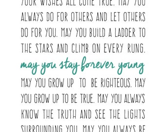 8x10 Forever Young Lyric Print - Dylan