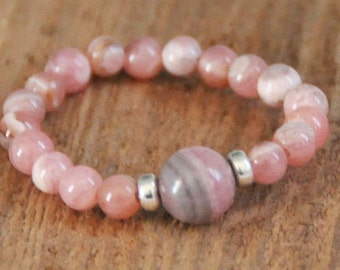 Genuine Rhodochrosite Stretch Ring, Sterling Silver, Finger Bracelet, Chakra Ring, Solitare, Heals Broken Hearts, Emotional Wounds, Trauma