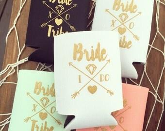Bride Tribe Drink Coolers  | Boho Bachelorette Party Favors, Metallic Gold Arrow Bride Tribe Drink Cooler Favors, Beer Bottle Can Holders