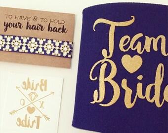 Team Bride Bachelorette Gift Set | Metallic Gold Tattoo, Hair Tie + Drink Cooler | Bachelorette Favor Gift Set, Bachelorette Party Favor