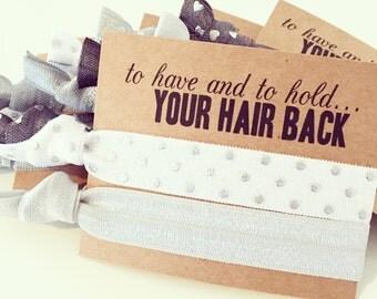 Silver Grey Hair Tie Bridal Shower Favor | White + Silver Dot Hair Tie Favor, Wedding Bridal Shower Bachelorette Bridesmaid Gift Hair Tie